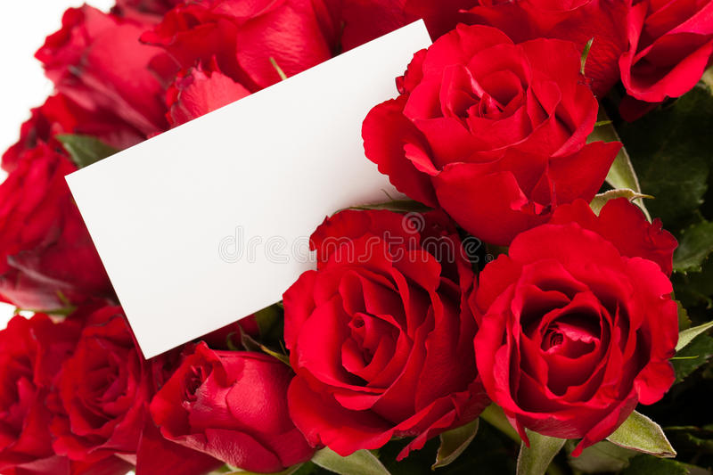 Red roses with gift tag. A bouquet of red roses with a blank gift tag royalty free stock photo