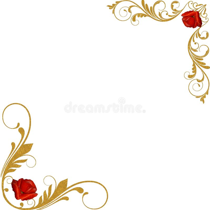 Red Roses Gold Decorative Corners Stock Photo