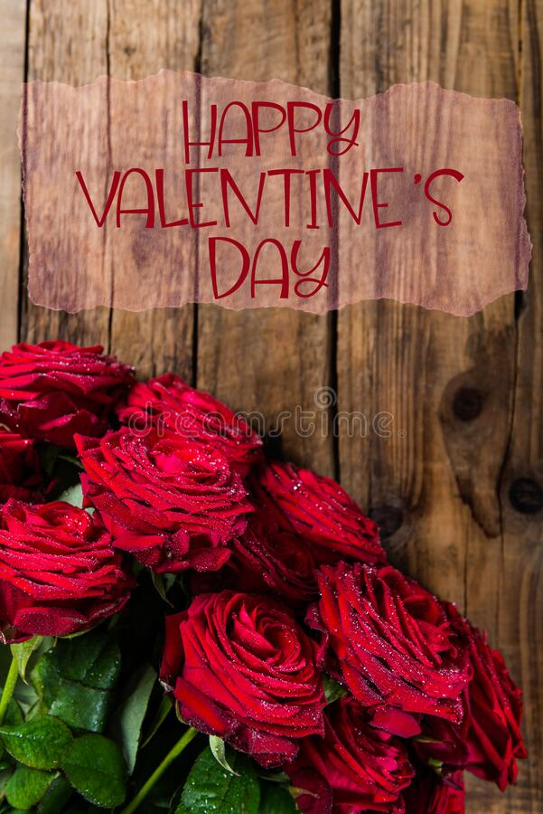 Red Roses with Happy Valentines Day slogan royalty free stock photos