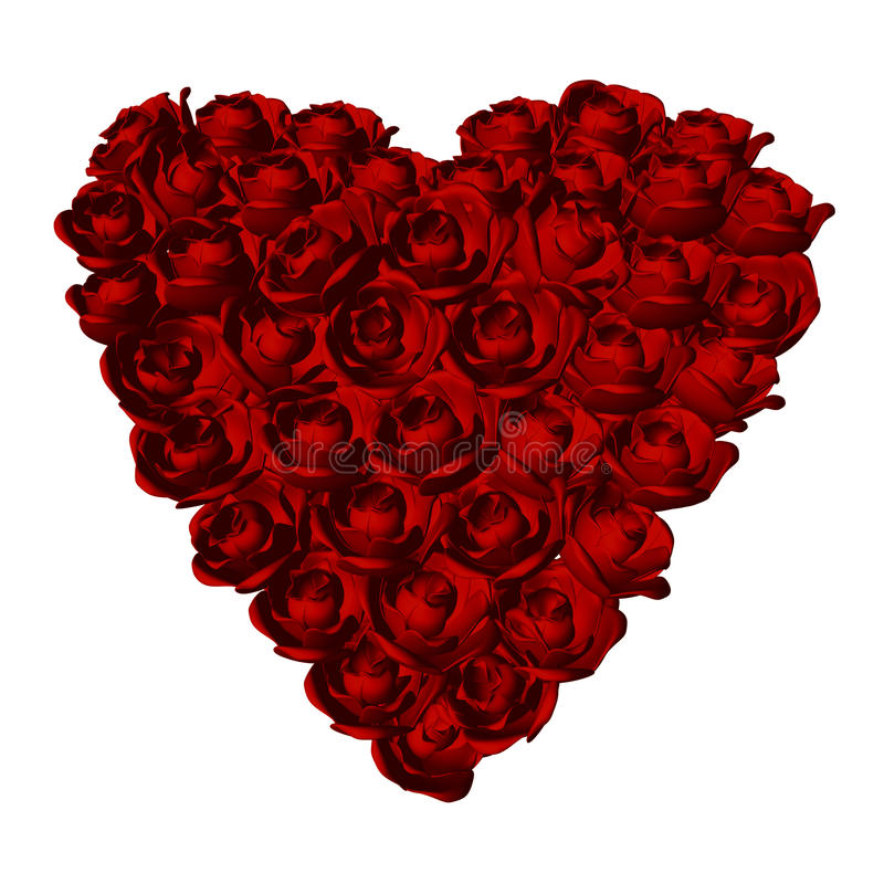 Red roses heart shape stock photos