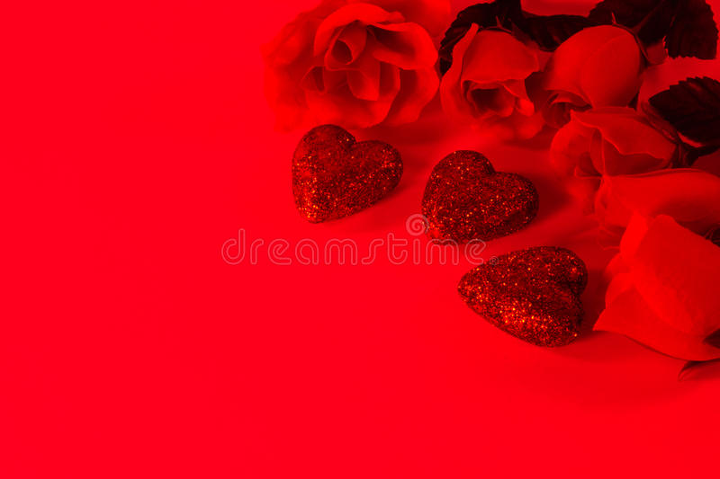 Red Roses and Hearts stock photos