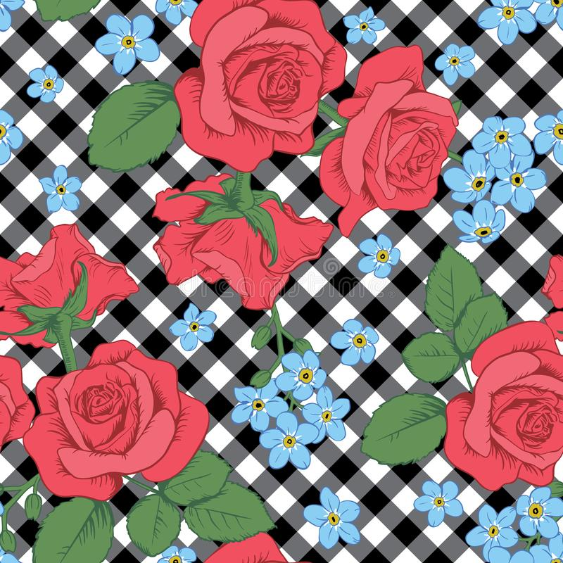 Red roses and myosotis flowers on black and white gingham, chequered background. Seamless pattern. Vector illustartion. Can use for background greeting cards vector illustration