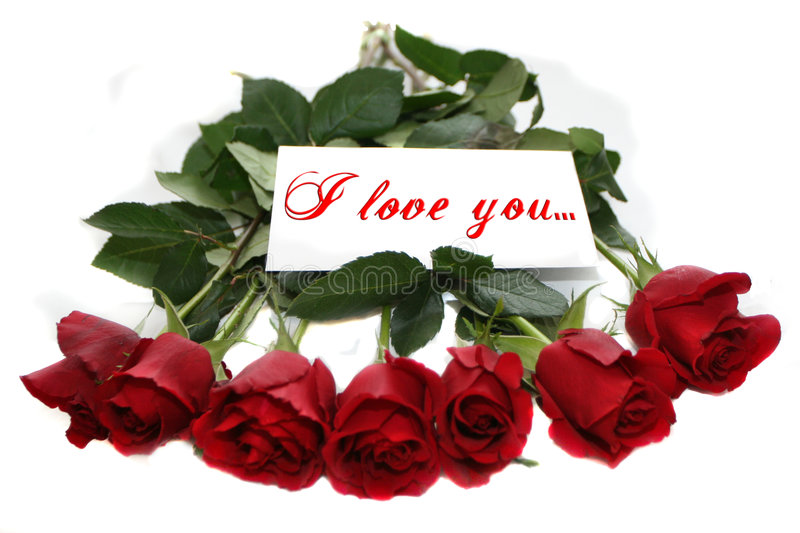 Red Roses With Note I Love You Stock Image Image Of Npte Garland 1787265