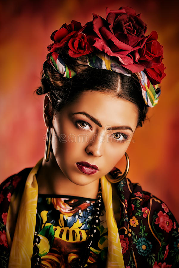 Download Red roses stock image. Image of frida, hair, feminine - 34300165