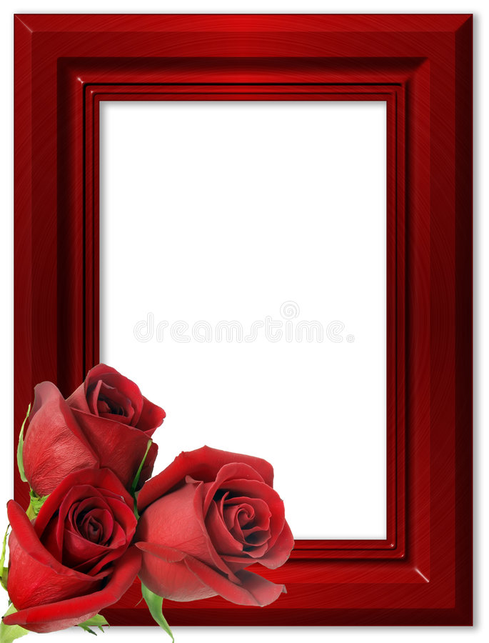 Red roses on a red framework for photos. royalty free stock photos