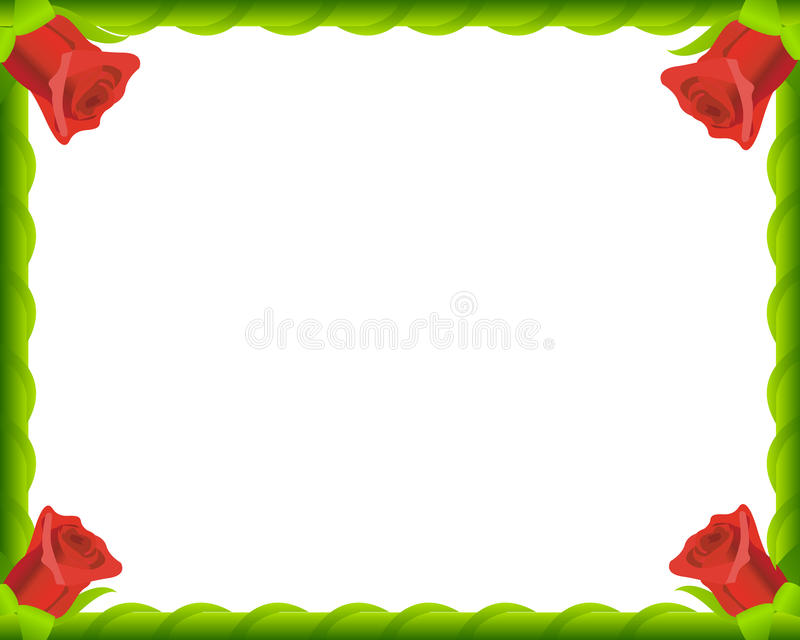 Red Roses Romantic Photo Frame Stock Photos