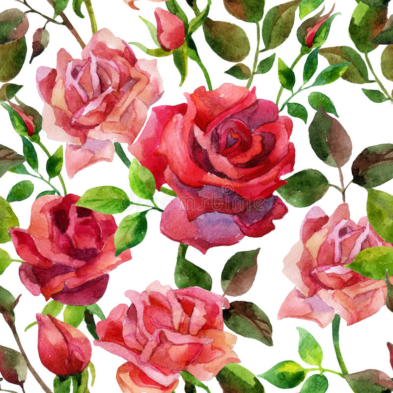 Red roses seamless pattern. stock illustration