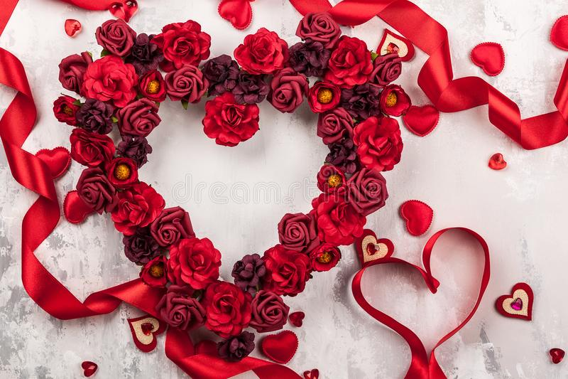 Red roses in shape of heart royalty free stock image