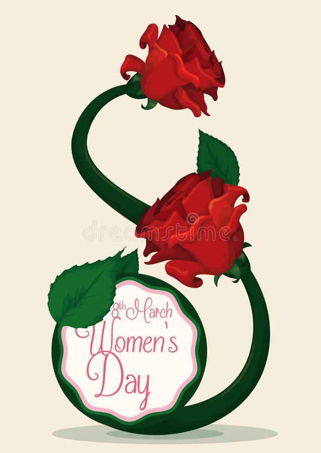 Red Roses and Stem with Eight's Shape for Women's Day Celebration, Vector Illustration royalty free stock photos