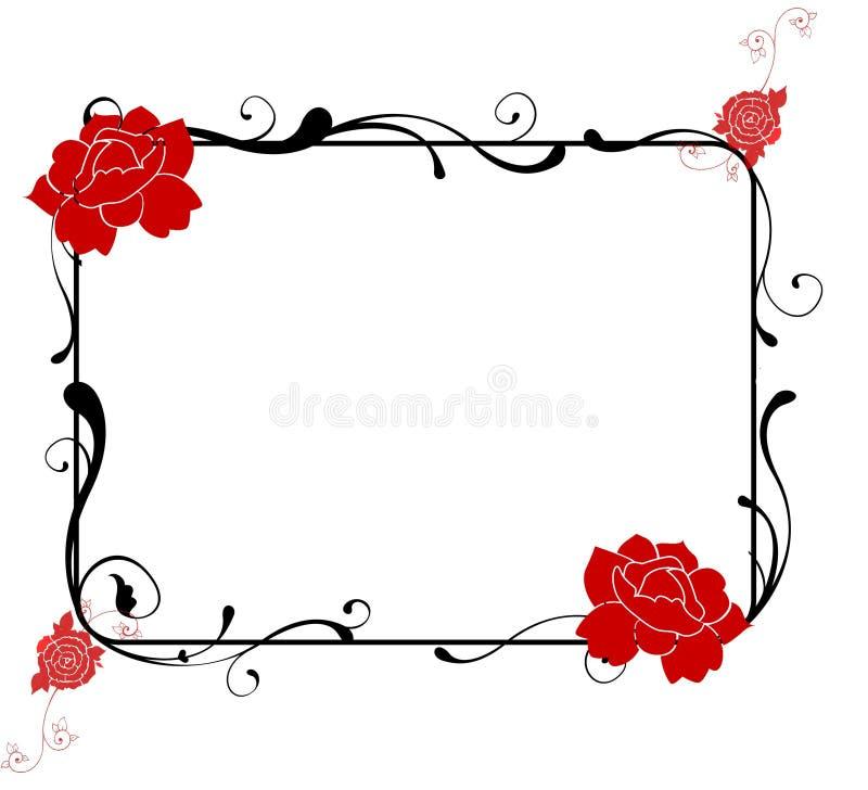 Red roses swirls black frame stock illustration