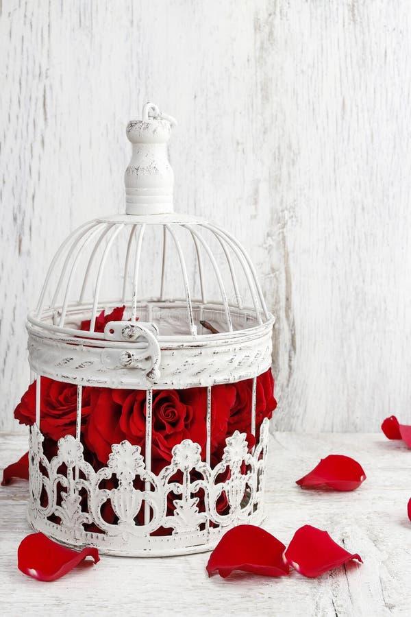 Red roses in a vintage birdcage wedding decor stock photo image red roses in a vintage birdcage wedding decor idea junglespirit Images