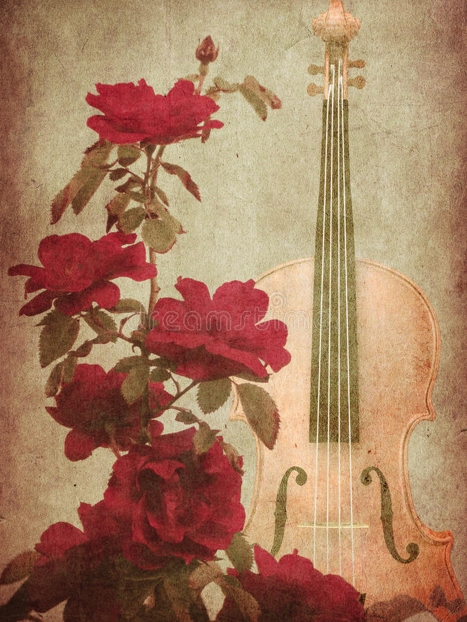Red roses and violin stock image