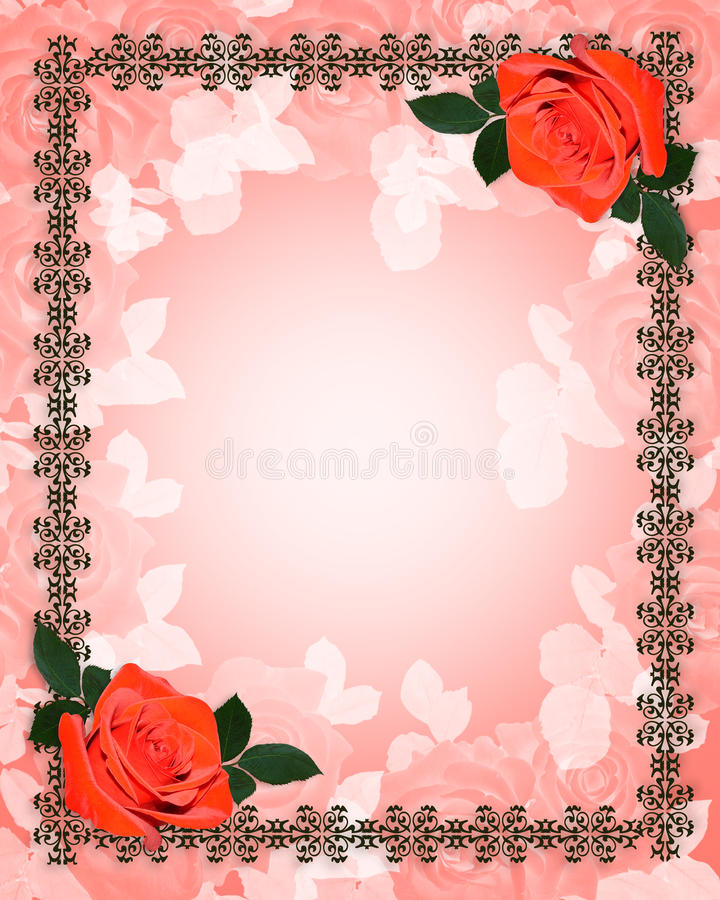 Red Roses Wedding Invitation Stock Photos