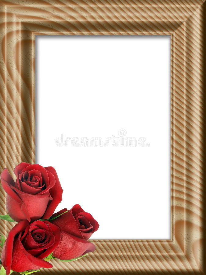 Red roses on a wooden framework royalty free illustration