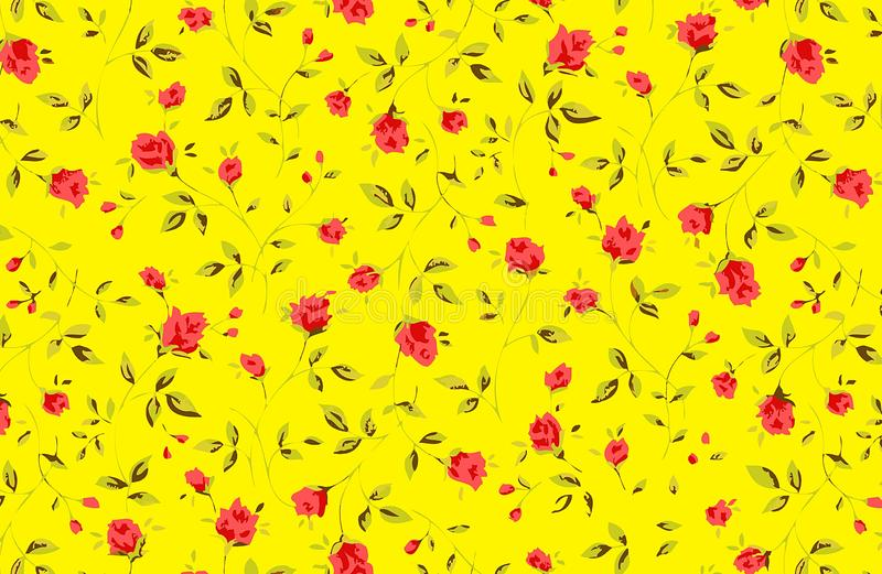 Red roses on yellow background. Illustration design vector illustration