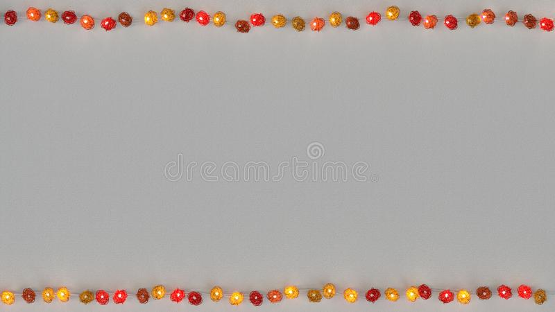 Red rotang string lights and free space 3D rendering. Red rotang string lights and free space. Abstract festive template. 3D rendering royalty free illustration