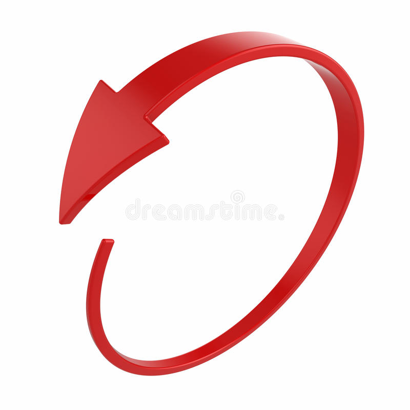 Red round arrow. 3d illustration of red round arrow on white background vector illustration