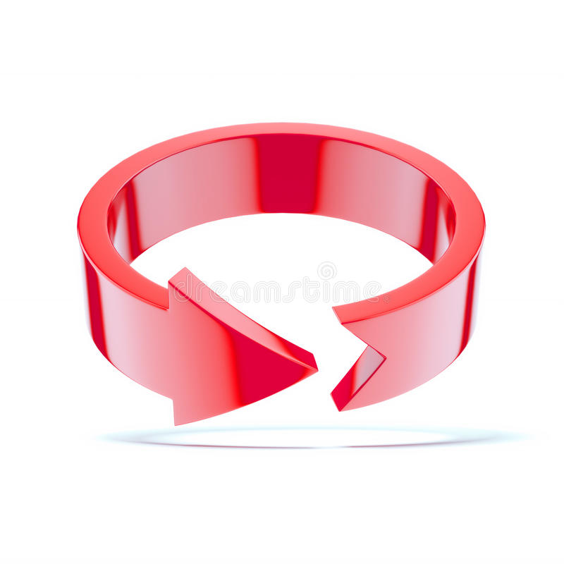 Red round arrow. Isolated on a white background. 3d render stock illustration