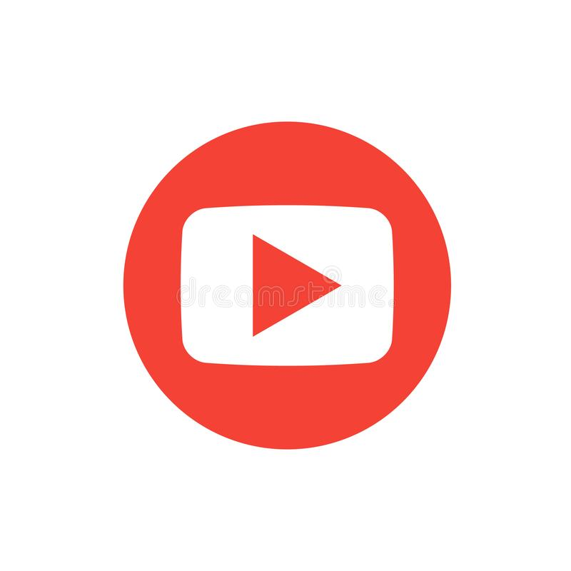 Red round button video player Social media. vector illustration