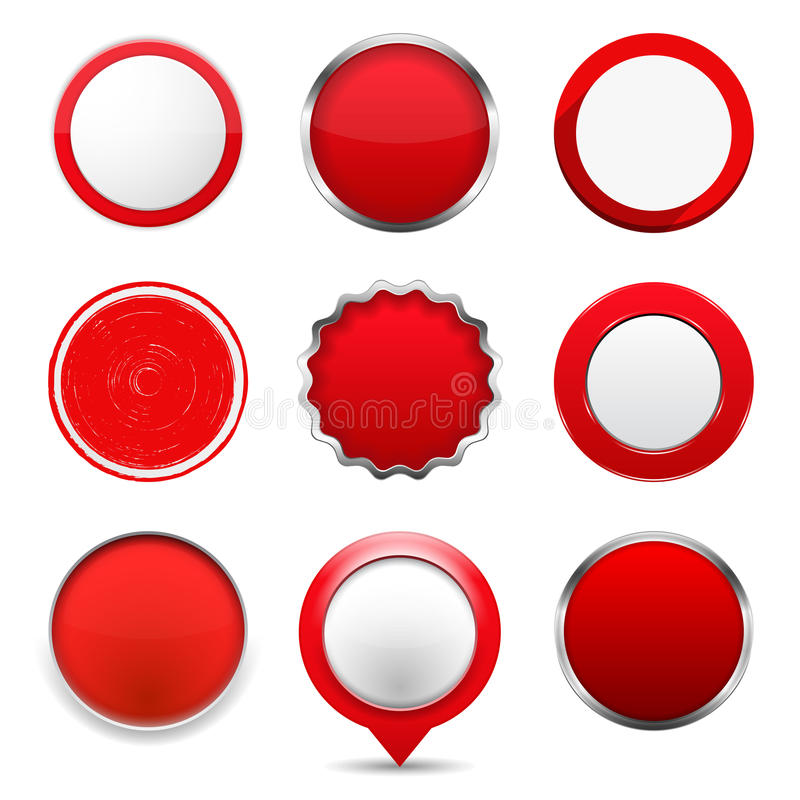 Red Round Buttons. Set of red round buttons on white background stock illustration