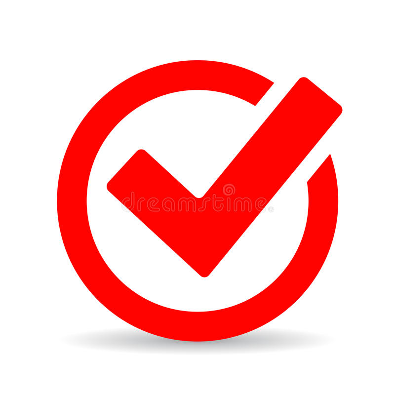 Red round checkbox icon. Red round checkbox vector icon royalty free illustration