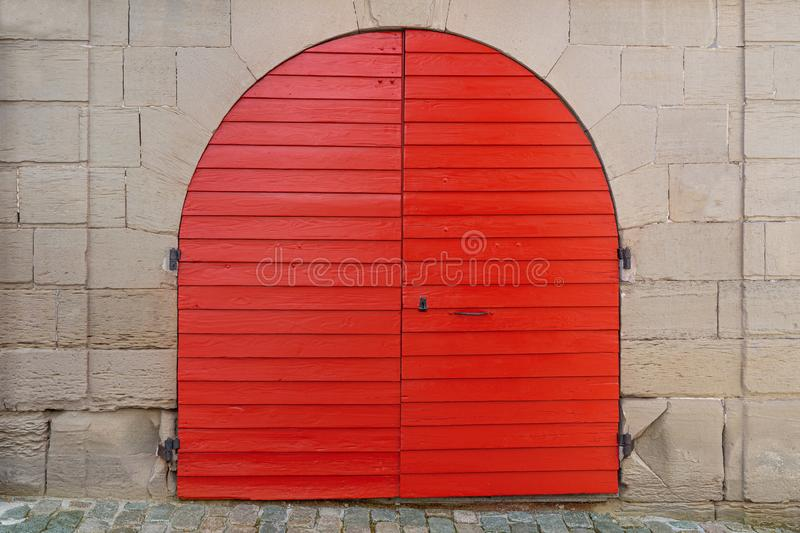 Red round wooden gate stock photography