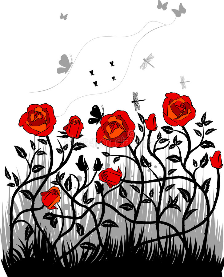 Red rouses. Floral background, saved as eps8 royalty free illustration