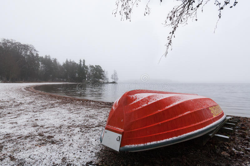 Download Red rowboat upside down stock photo. Image of nobody - 27855332