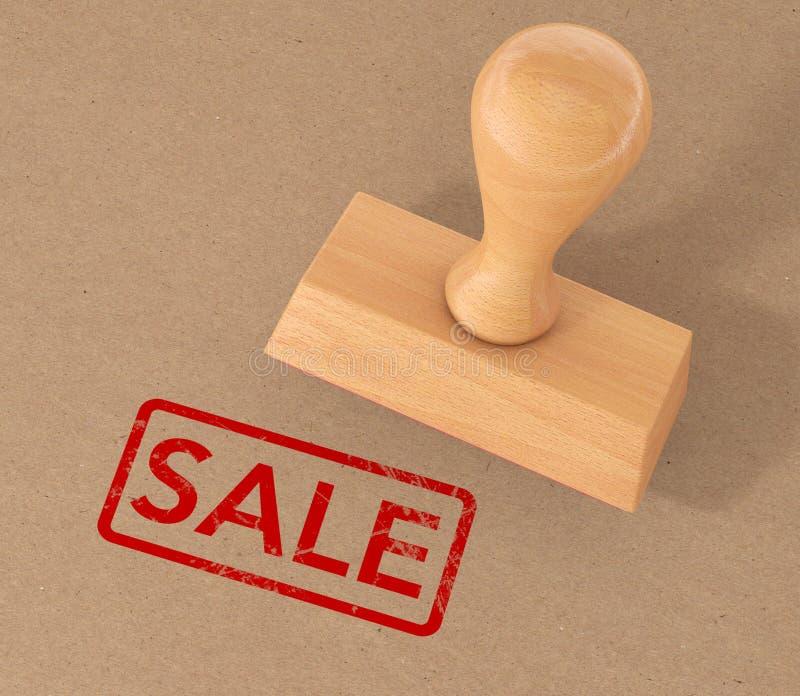 Red Rubber Sale Grunge Stamp over Cardboard. 3d Rendering vector illustration