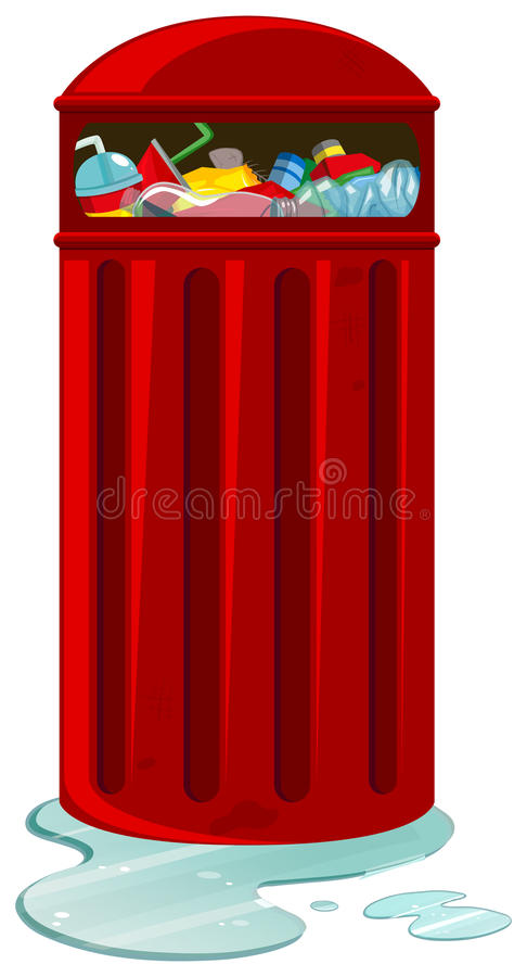 Red rubbish can full of trash. Illustration royalty free illustration