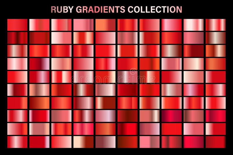 Red ruby glossy gradient, metal foil texture. Color swatch set. Collection of high quality vector gradients. Shiny vector illustration