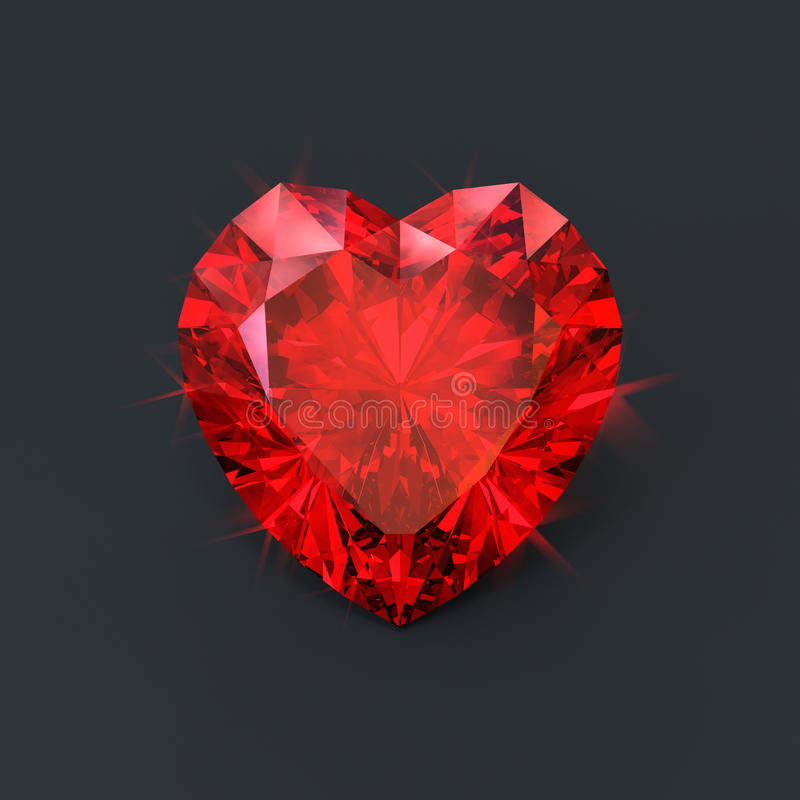Ruby heart red jewel isolated vector illustration