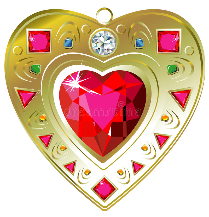Red ruby heart pendant. Vector illustration of red ruby heart pendant, isolated on white stock illustration