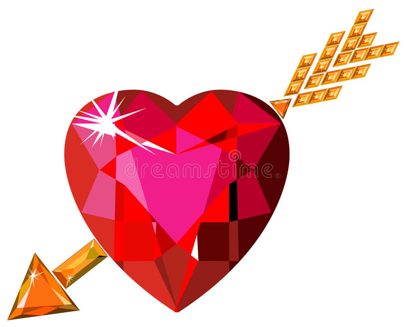 Red ruby heart struck by Cupid arrow vector illustration