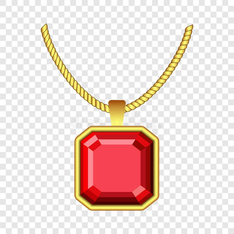 Red ruby jewelry icon, realistic style. Red ruby jewelry icon. Realistic illustration of red ruby jewelry vector icon for on transparent background stock illustration