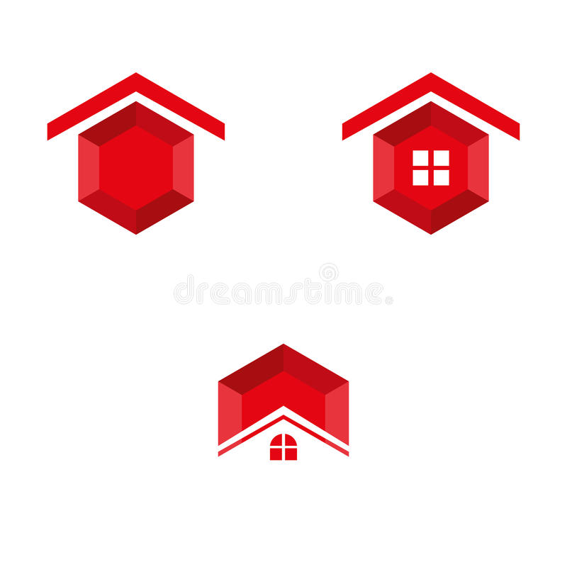 Red ruby. A set of red ruby home icons royalty free illustration