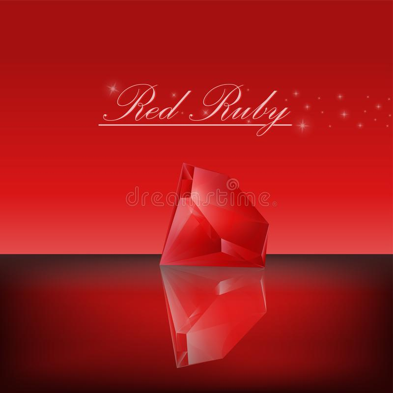 Red ruby,Vector illustration. Red ruby and shadow reflect on red backgroud vector illustration
