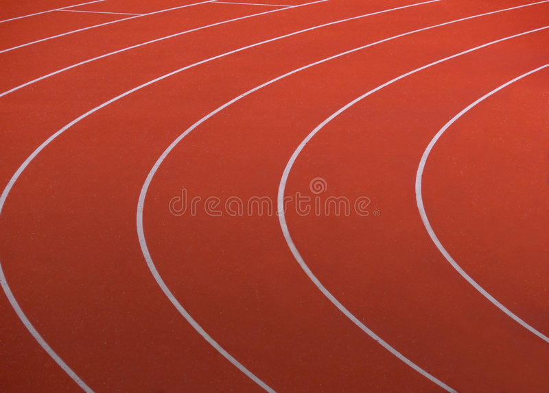 Red running track stock image