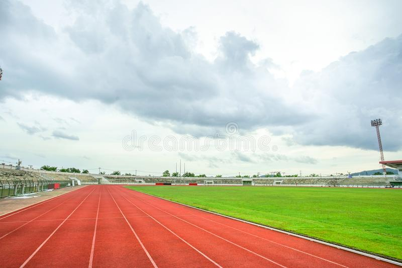 Red running Track in the stadium royalty free stock photography