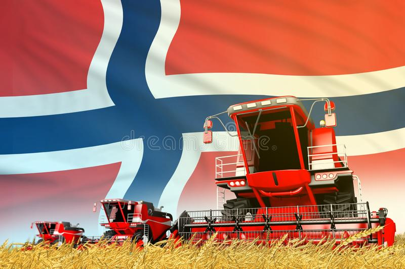 Red rural agricultural combine harvester on field with Norway flag background, food industry concept - industrial 3D illustration. Industrial 3D illustration of vector illustration