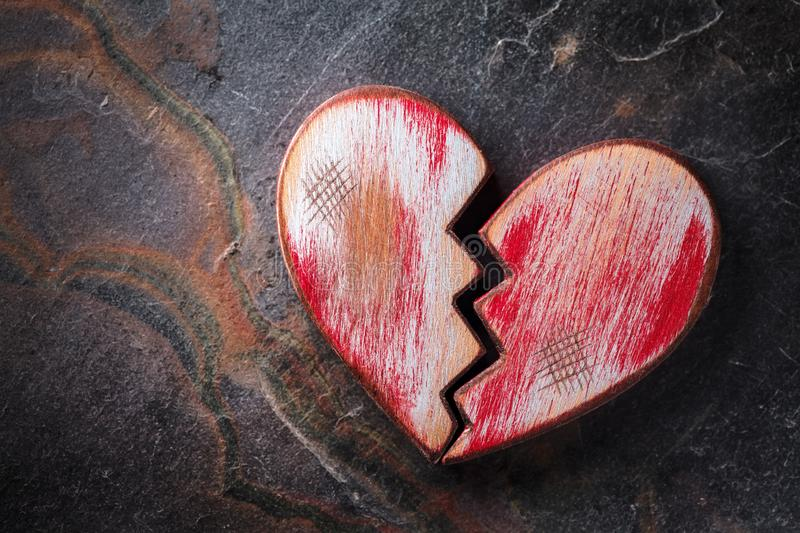 Rustic Red Heart On Slate royalty free stock photography