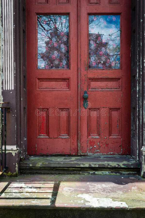 Red Rustic Door Stock Image Image Of House Exterior