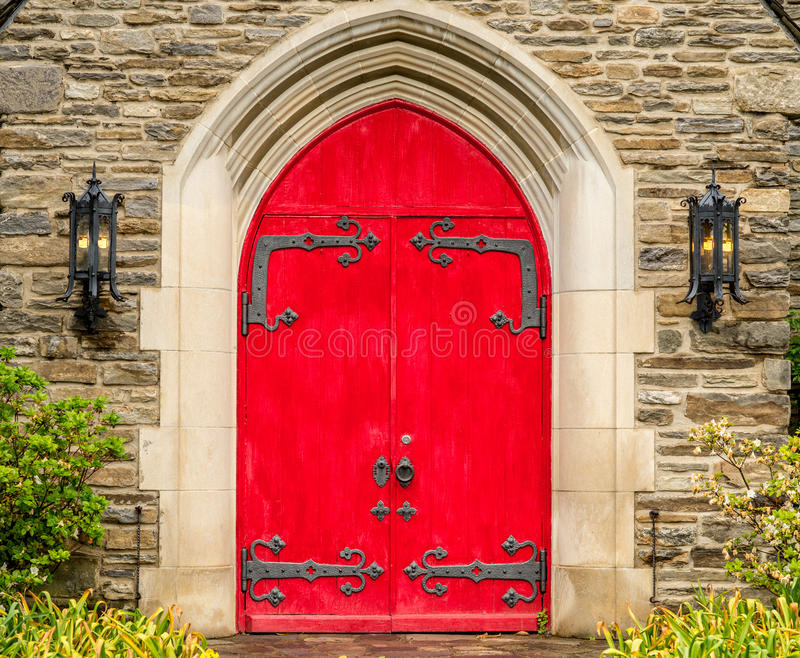 Red Rustic Ornate Church Doors Gatlinburg Tennessee stock photography
