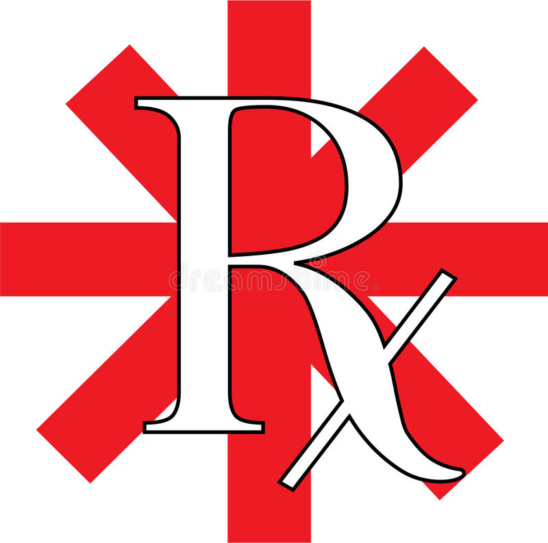 Red rx. An illustration of a Red RX symbol stock illustration