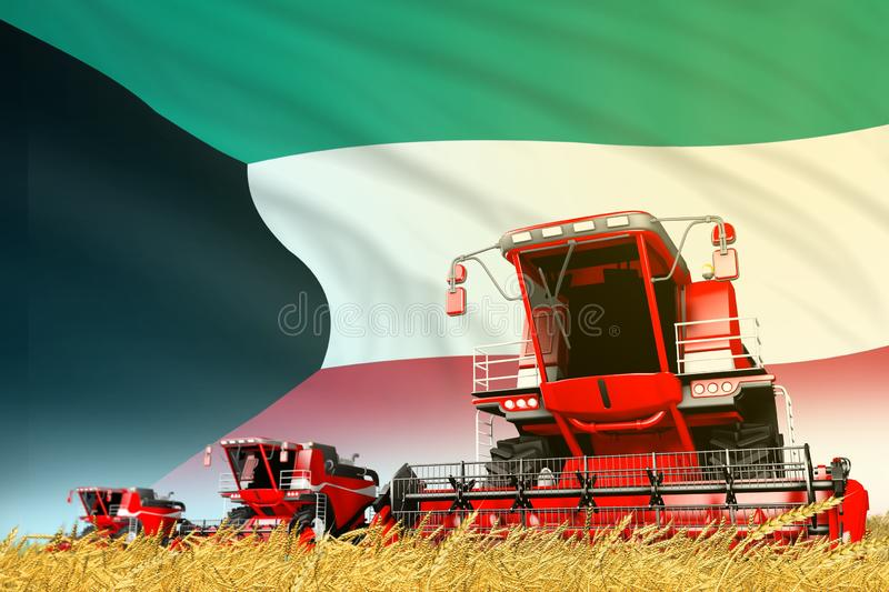 Industrial 3D illustration of red rural agricultural combine harvester on field with Kuwait flag background, food industry concept. Red rye agricultural combine vector illustration