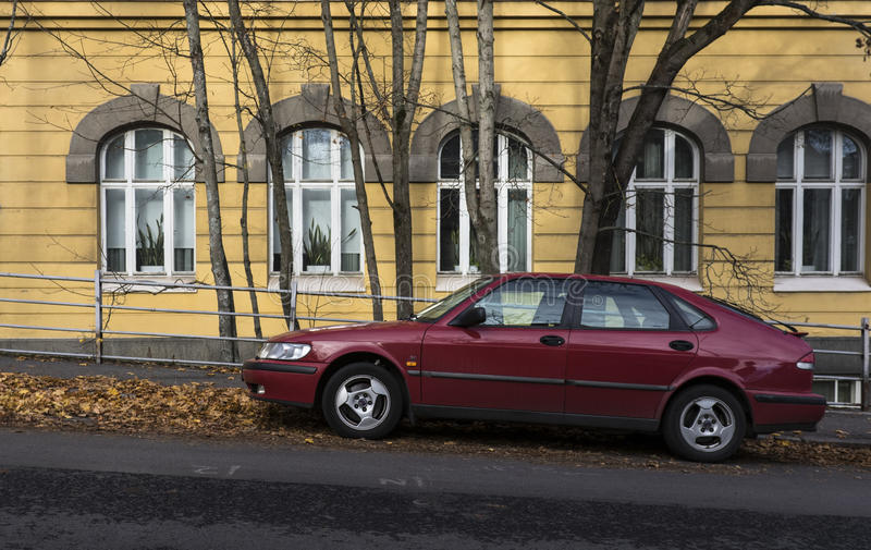 Red Saab parking royalty free stock photos