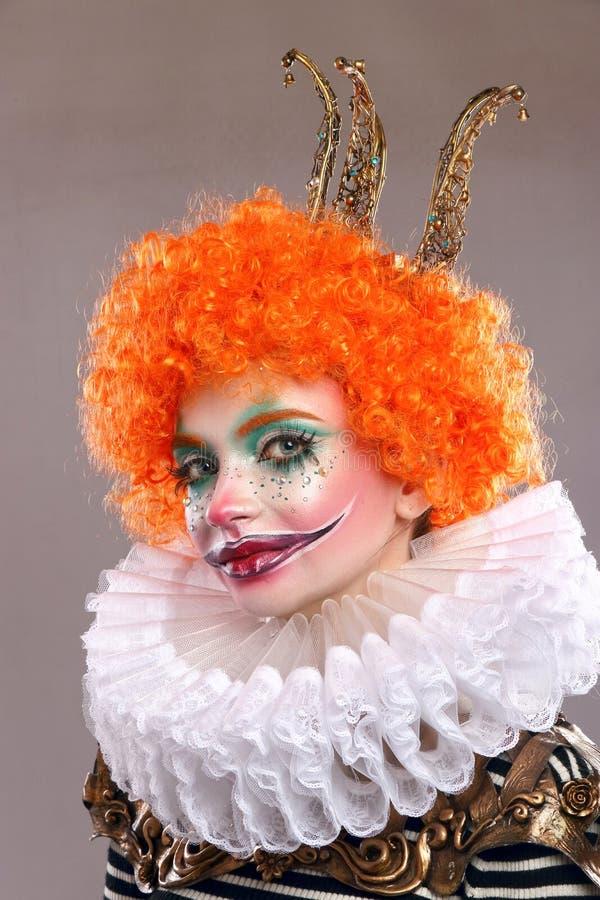 Red sad clown stock image