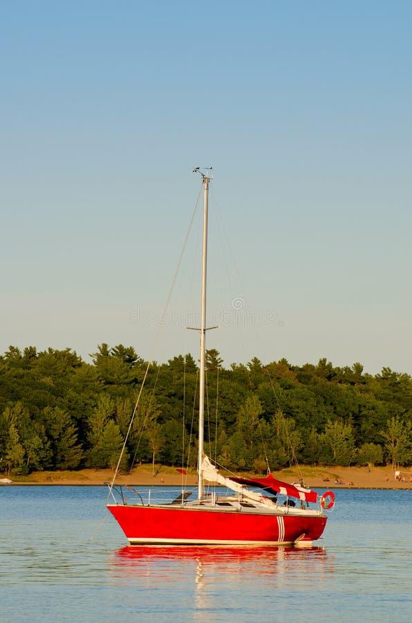 Red Sailboat Royalty Free Stock Photos