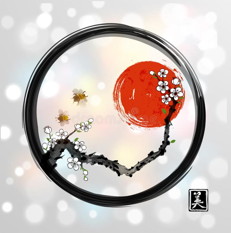 Red sakura cherry tree bllossom, red sun and two bees in black enso zen circle on white glowing background. Traditional. Oriental ink painting sumi-e, u-sin, go royalty free illustration