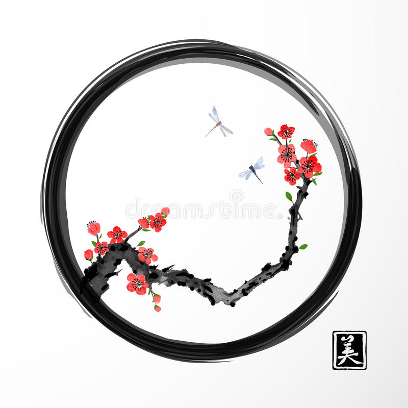 Red sakura cherry tree and two blue dragonflies in black enso zen circle on white background. Traditional oriental ink. Painting sumi-e, u-sin, go-hua. Contains vector illustration